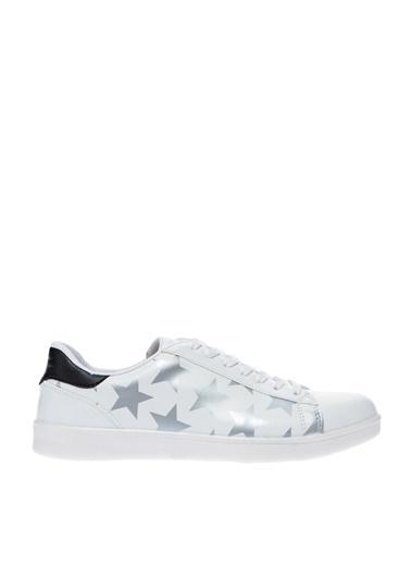 Bambi Bambi Ayakkabı Yıldız Desenli   Düz Ayakkabı Beyaz